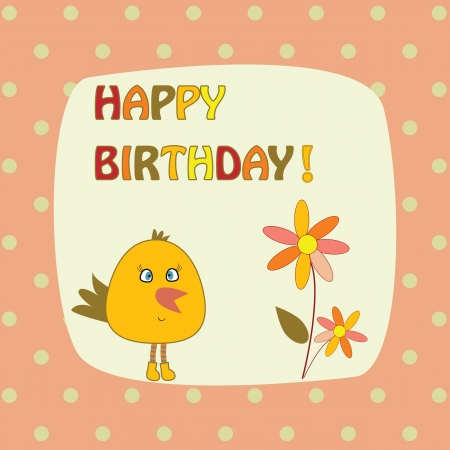 card with bird and flowers Illustration