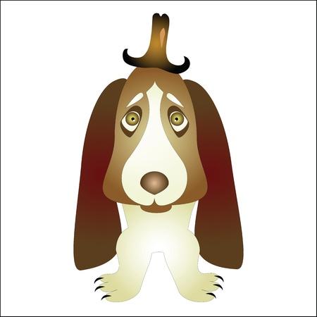 basset hound: perro de afloramiento en un sombrero Vectores