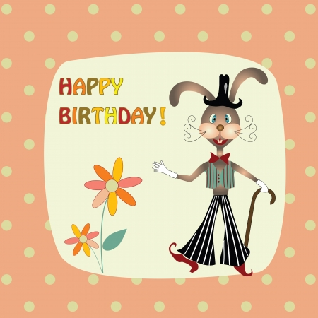 greeting card with a rabbit in the hat Illustration