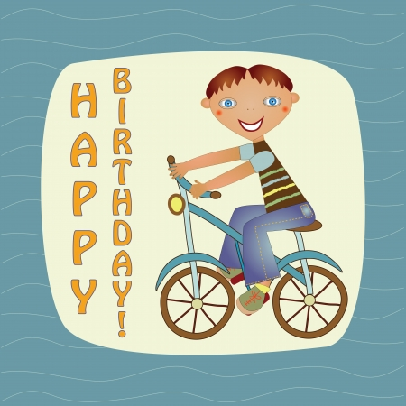 greeting card with a boy on a bike