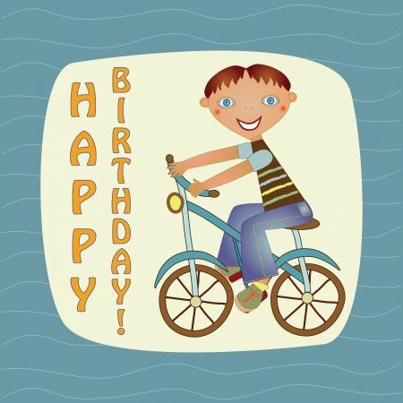 greeting card with a boy on a bike