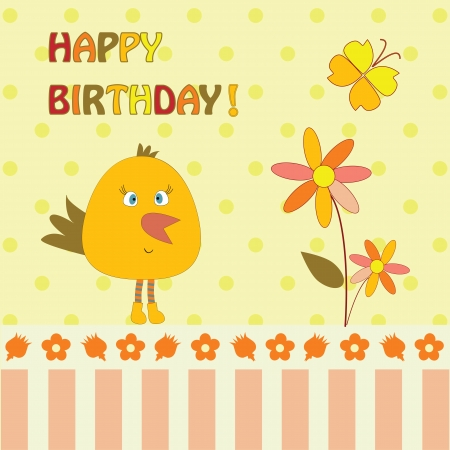 greeting card with bird and flower Illustration