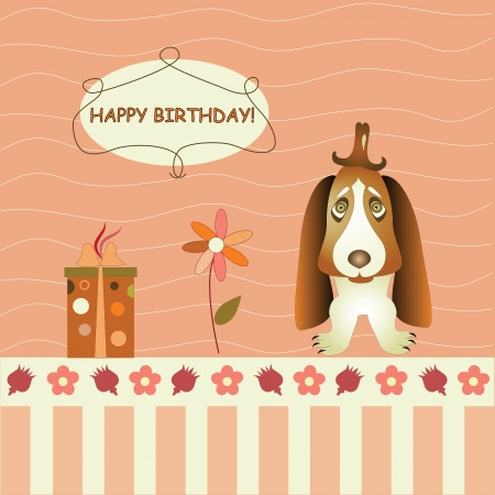 greeting card with dog and gifts