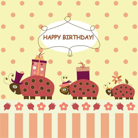 Ladybugs congratulate Happy Birthday