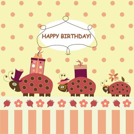 Ladybugs congratulate Happy Birthday