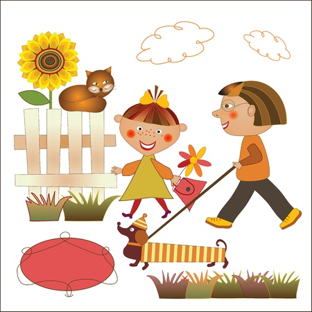 boy and girl walking the dog