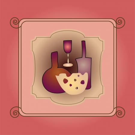 card with bottles and cheese Illustration