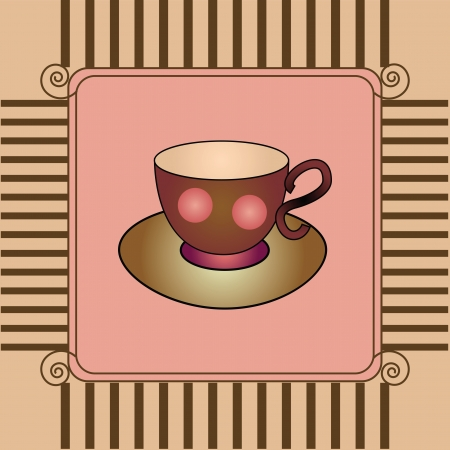 card with cup and saucer Vector