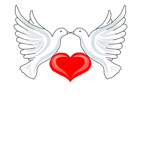 Two doves with heart for your design Illustration