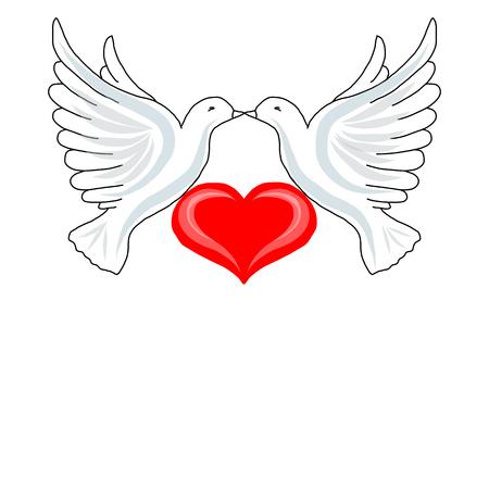 Twee duiven met hart voor uw ontwerp