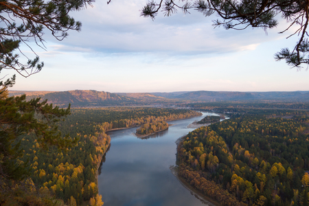 Siberian s-shaped river in autumn.