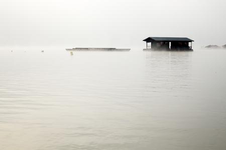 misty river in Sangkhlaburi Thailand