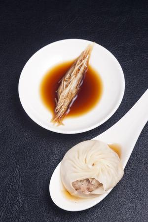 xiao long bao with dipping sauce