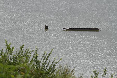 isolate boat in river Stock fotó