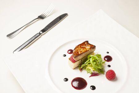 foie gras on white plate Stock fotó