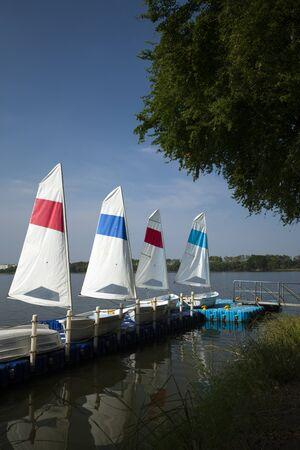 Sailboat in the pier vertical frame Stock fotó
