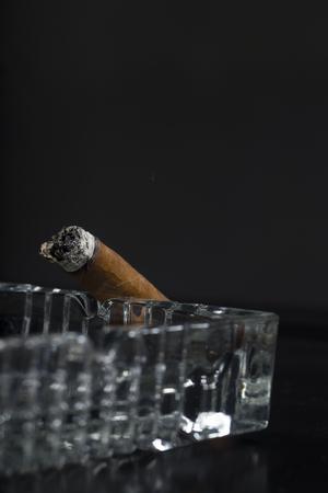 Smoked cigar on ashtray Stock fotó
