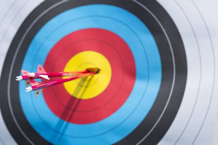 Three arrows from archer hit centre of target
