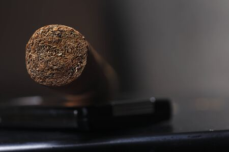 Front of cigar show tobacco inside Stock fotó