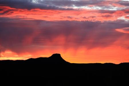 プレスコット赤い夕日 写真素材