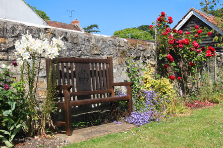 Country Garden Seat and Roses photo