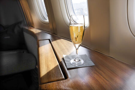 Welcoming Glass of Champagne for an Airline s First Class Passenger