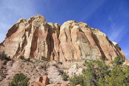 steep cliffs: Tall red mountain and steep cliffs New Mexico Stock Photo