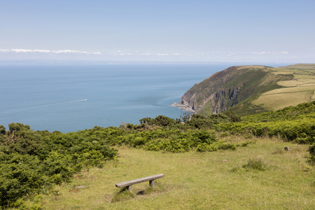 Seat with a view of north Devon coast England