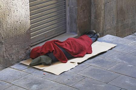 social outcast: Homeless man sleeping rough