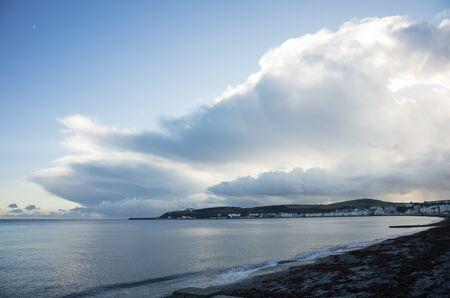 british man: Storms over Douglas Isle of Man British Isles