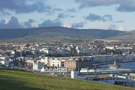 Douglas Isle of Man town and mountains Stock Photo