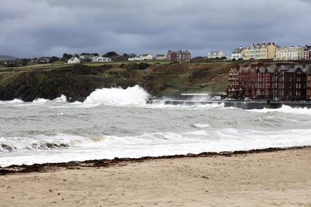 british man: Stormy Seas and beach Peel Isle of Man British Isles