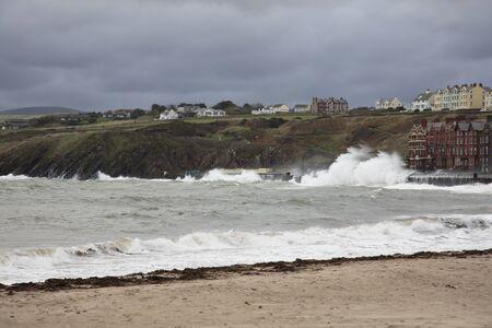 british isles: Stormy Seas and beach Peel Isle of Man British Isles