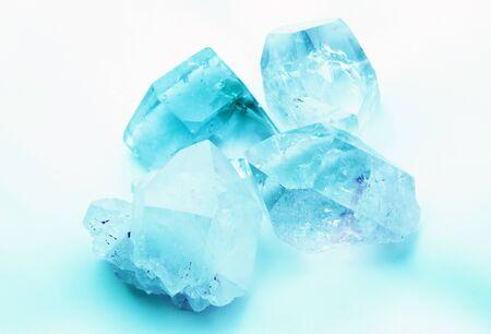 gemological: Aquamarine colored quartz rock crystals