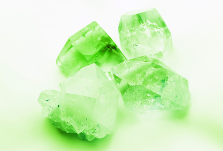 mined: Emerald green colored quartz rock crystals
