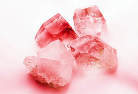 gemological: Ruby red colored quartz rock crystals