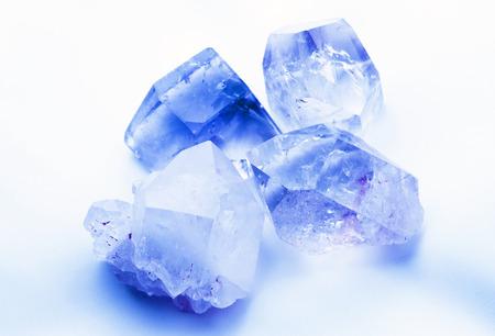 gemological: Sapphire blue colored quartz rock crystals