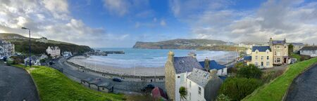 Panorama of the bay a town of Port Erin Isle of Man British Isles Stock Photo