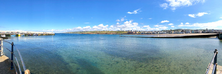 Panorama of Peel Harbour Isle of Man British Isles