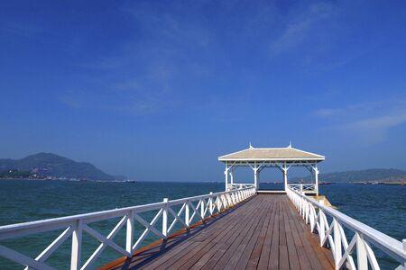Walkway to pavillian on the sea