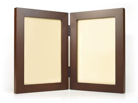 Twin wooden photo frame Stock fotó