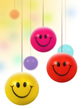 smiley content: suspendus color�s boules smiley