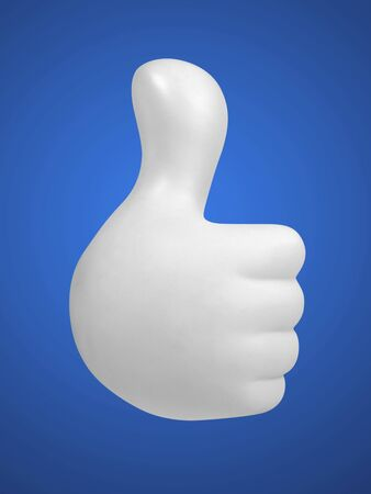 white hand showing thumbs up sign on blue background Stock Photo