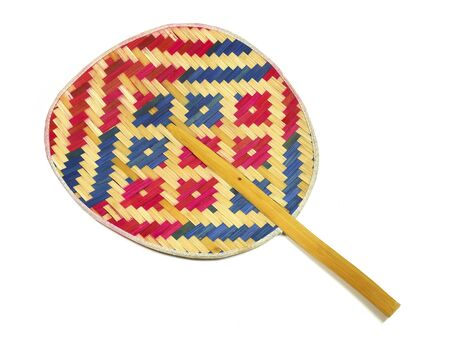 hand made weave colorful thai fan on white background