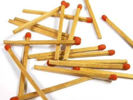 red matches close up on white background Stock Photo - 16291420