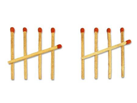 ten matchstick counting concept  on white background Stock Photo - 16291417