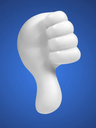 white hand with thumbs down on blue background