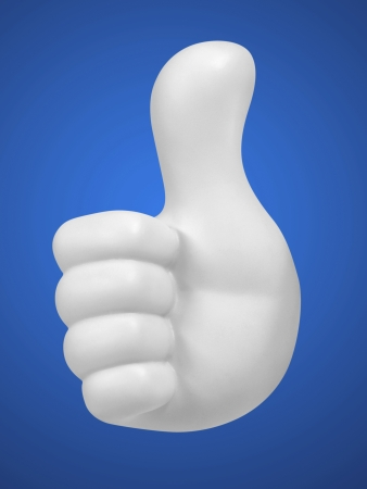 white hand with thumbs up on blue background