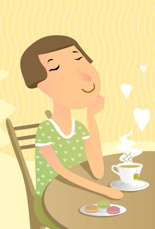 sentarse: Relajado mujer bebe té greeen Vectores