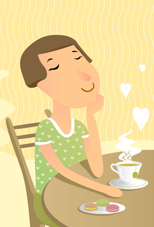 loosen: Relaxed woman drinks greeen tea Illustration
